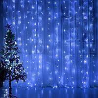 Неоновая Гирлянда Водопад Синяя Светодиодная LED Штора 3 х 2 метра Силиконовая, фото 3