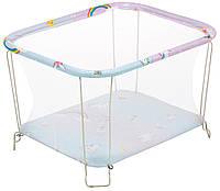 Манеж детский игровой KinderBox классический Единорожка с мелкой сеточкой (kmk 4530)