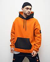 Худи оверсайз Огонь Пушка Grid оранжевое, фото 1