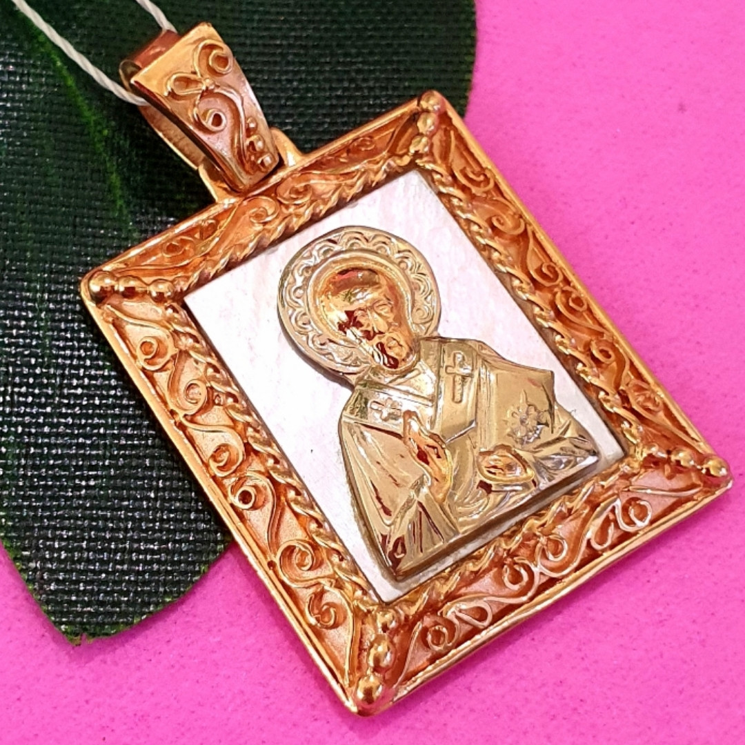 Золотая ладанка Николай Чудотворец - Кулон иконка Святой Николай - Підвіска Святий Миколай