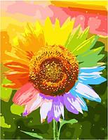 Картина по номерам 40*50 см Радужный подсолнух