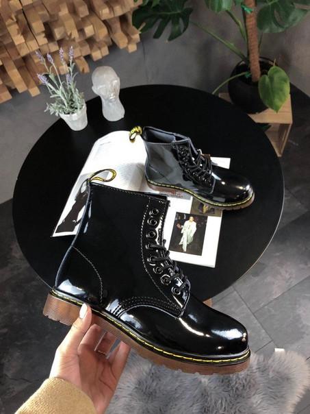 Женские ботинки Dr Martens Black Lacquered демисезон чёрные