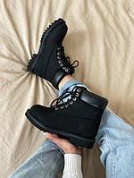 Женские ботинки Timberland 6 Inch Premium black демисезон, чёрные. Размеры (36,37,38,39,40,41,42,43,44,45)