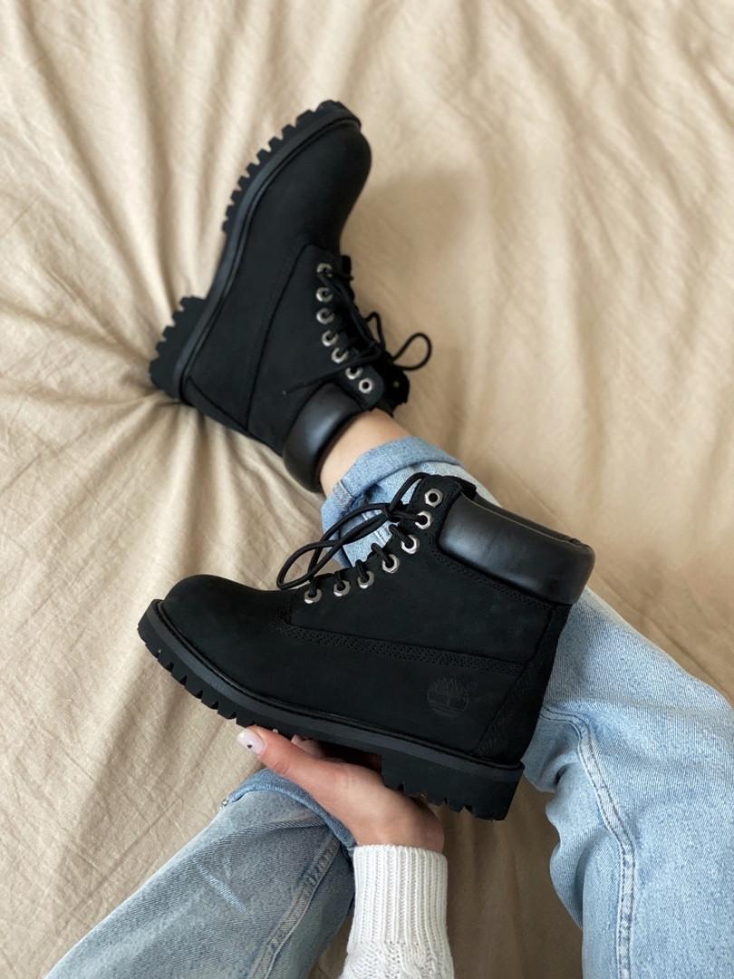 Жіночі черевики Timberland 6 Inch Premium black демисезон, чорні. Розміри (36,37,38,39,40,41,42,43,44,45)