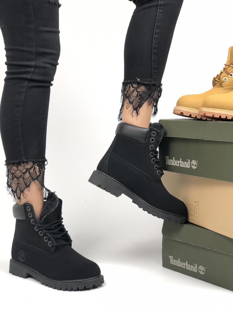 Жіночі черевики Timberland Premium full black (хутро) зима, чорні. Розміри (36,37,38,39,40,4144)