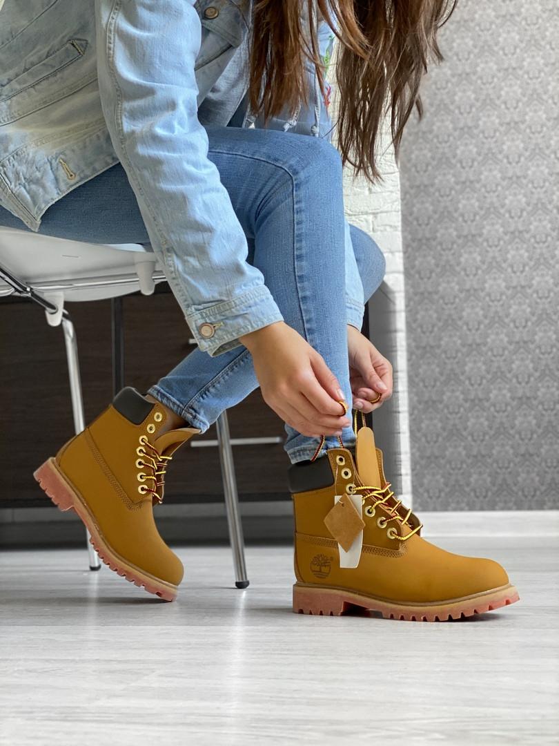 Женские ботинки Timberland Premium Brown (термо) осень/зима, коричневые. Размеры (36,37,38,39,40,41,42,43,44)