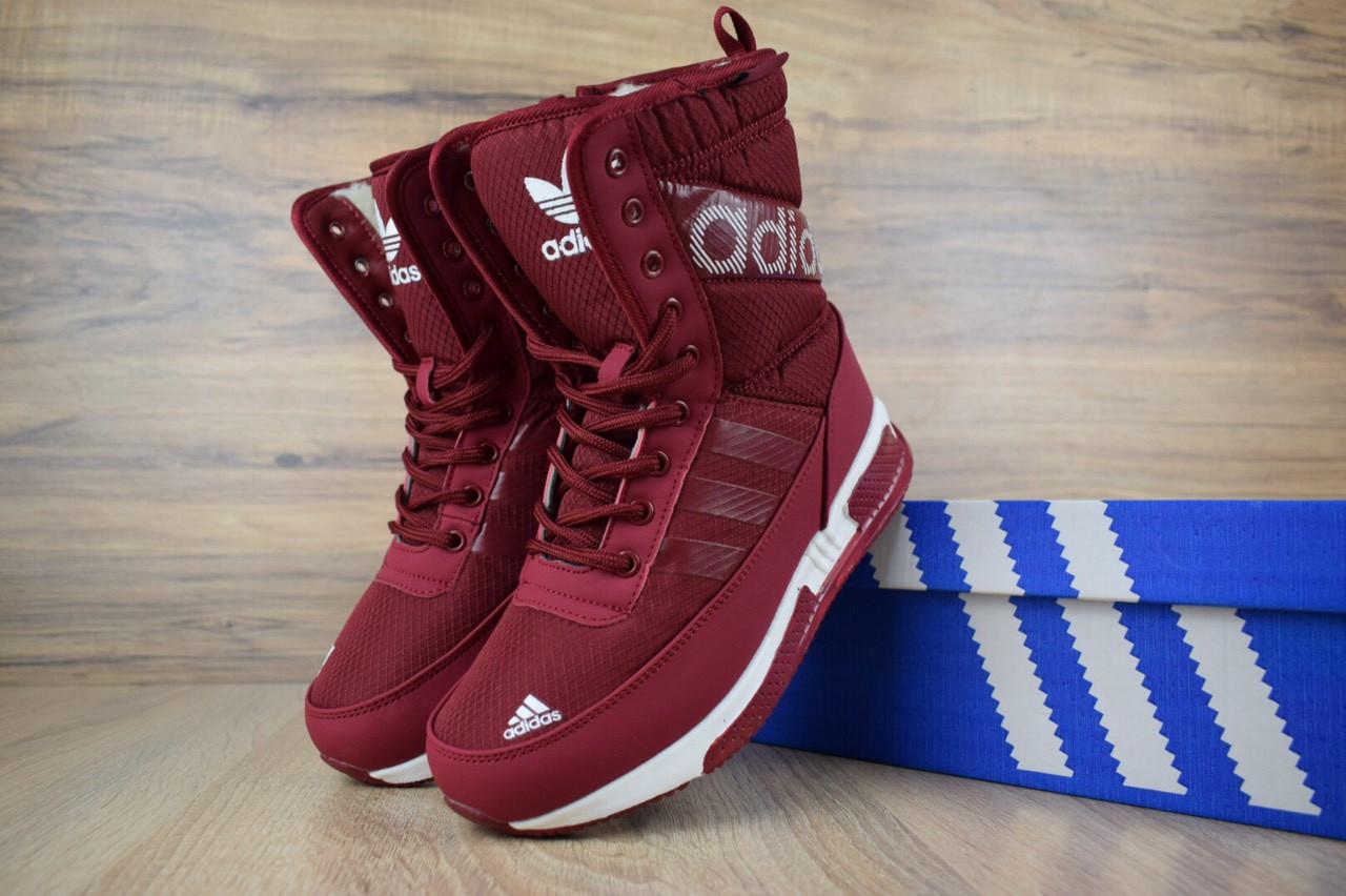 Жіночі зимові чоботи Adidas, бордові. Розміри (36,37,38,39,41)