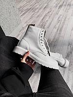 Женские ботинки Dr Martens Full White демисезон белые кожаные, фото 1