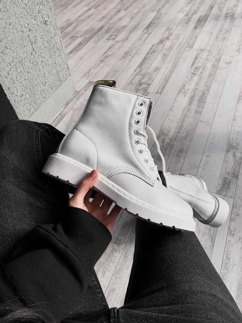 Женские ботинки Dr Martens Full White демисезон белые кожаные