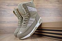 Женские зимние сапоги Adidas Beige, бежевые. Размеры (36,37,38,39,40,41 ), фото 1