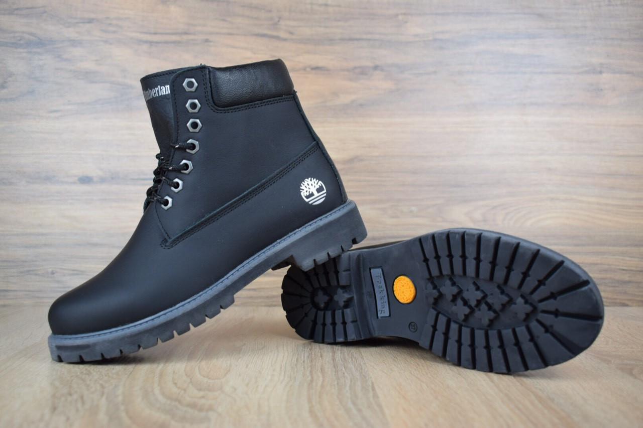 Жіночі зимові черевики TImberland Classic Boot Black Leathter (на хутрі), чорні. Розміри (36,37,38,39,40,41)