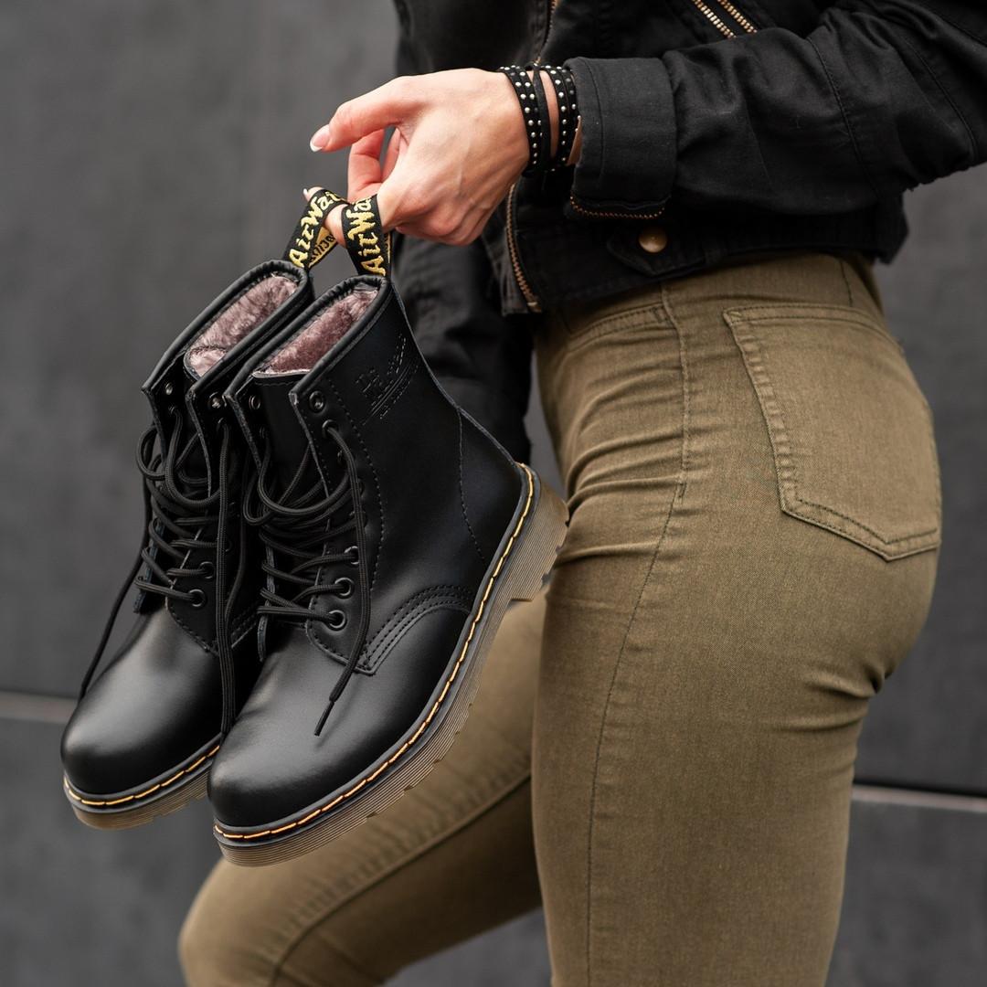 Жіночі черевики Dr Martens Black Winter Classic на хутрі зимові чорні