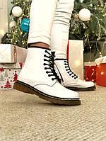 Женские ботинки Dr Martens White Winterна меху зимние белые, фото 1