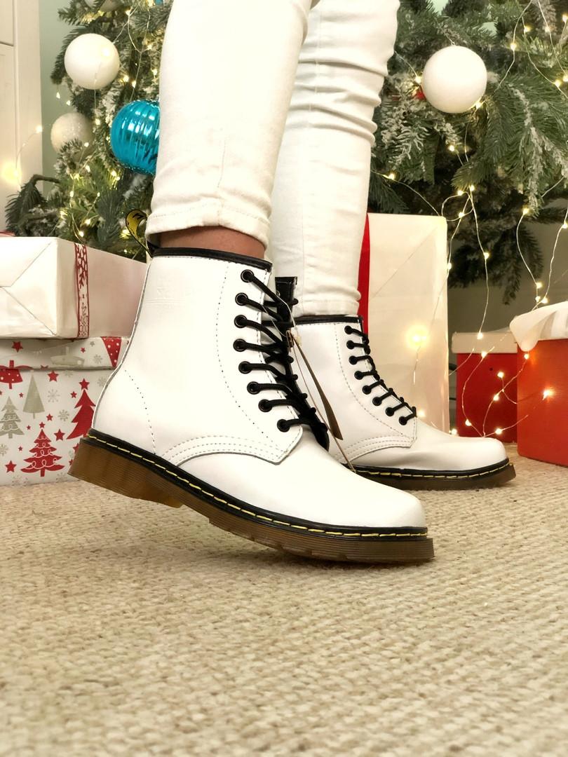 Женские ботинки Dr Martens White Winterна меху зимние белые