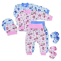 Комплект на новорожденого шапочка пинетки кофточка штанишки