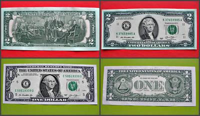 Купюра 1 і 5 долара США. Колекційні американські банкноти 1988 - 2017 рр ..