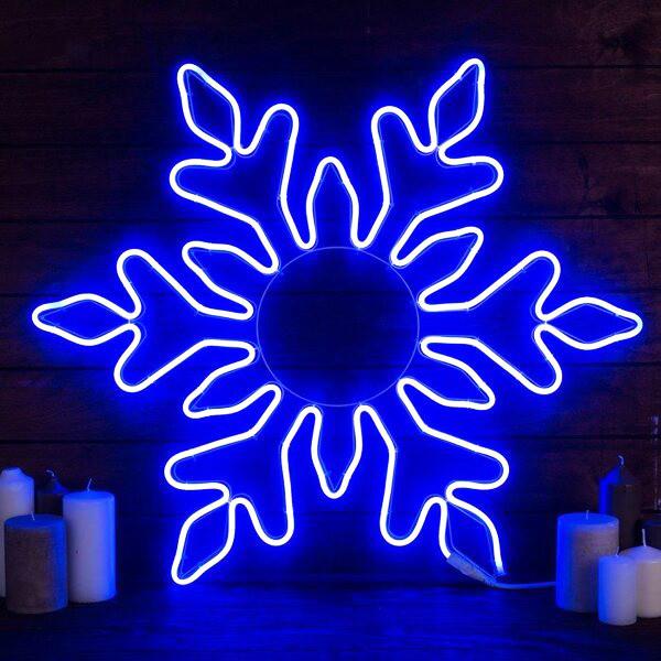 Новогодняя светящаяся фигура Снежинка 70 см, гибкий неон, синий