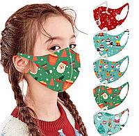 Детские защитные маски 5шт многоразовые с новогодним принтом 2
