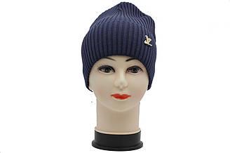 Вязаная трикотажная утепленная шапка синего цвета LV.