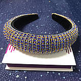 Різні кольори Об'ємний обруч з кристалами Swarovski колір на вибір висотою 3 см, фото 4