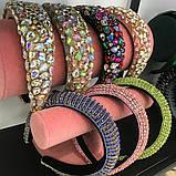 Різні кольори Об'ємний обруч з кристалами Swarovski колір на вибір висотою 3 см, фото 3