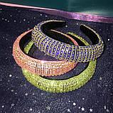 Різні кольори Об'ємний обруч з кристалами Swarovski колір на вибір висотою 3 см, фото 2