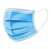 Захисна маска тришарова одноразова з затиском для носа, нетканий матеріал спанбонд. Упаковка 50 шт.