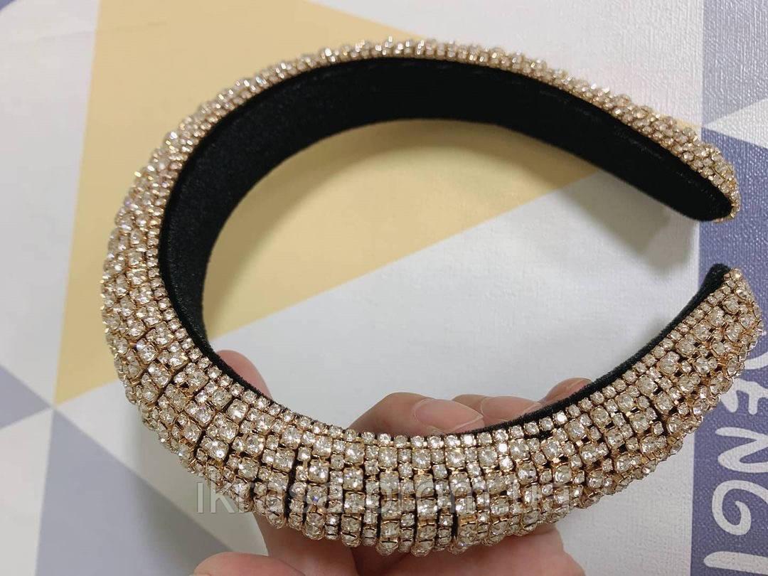 Об'ємний обруч з кристалами Swarovski висотою 3 см