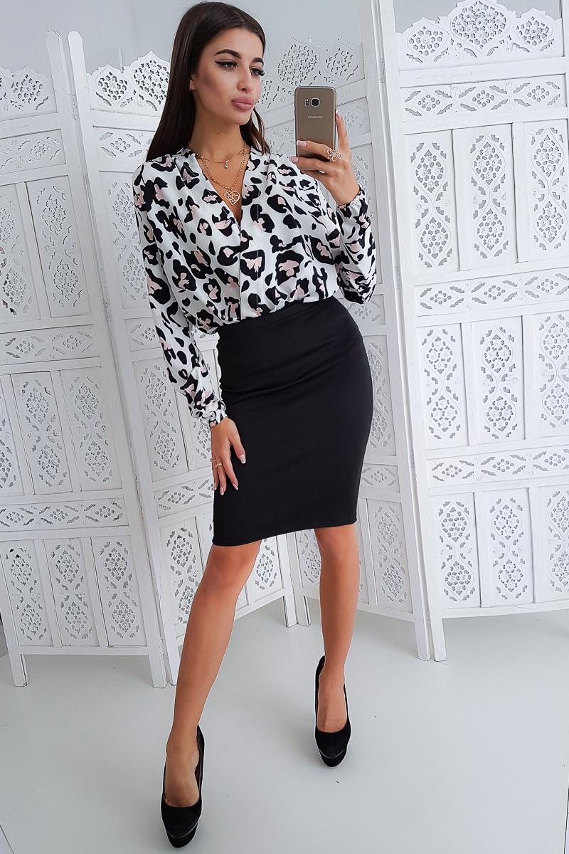 Комплект: Черная юбка карандаш с боди с леопардовым принтом -2