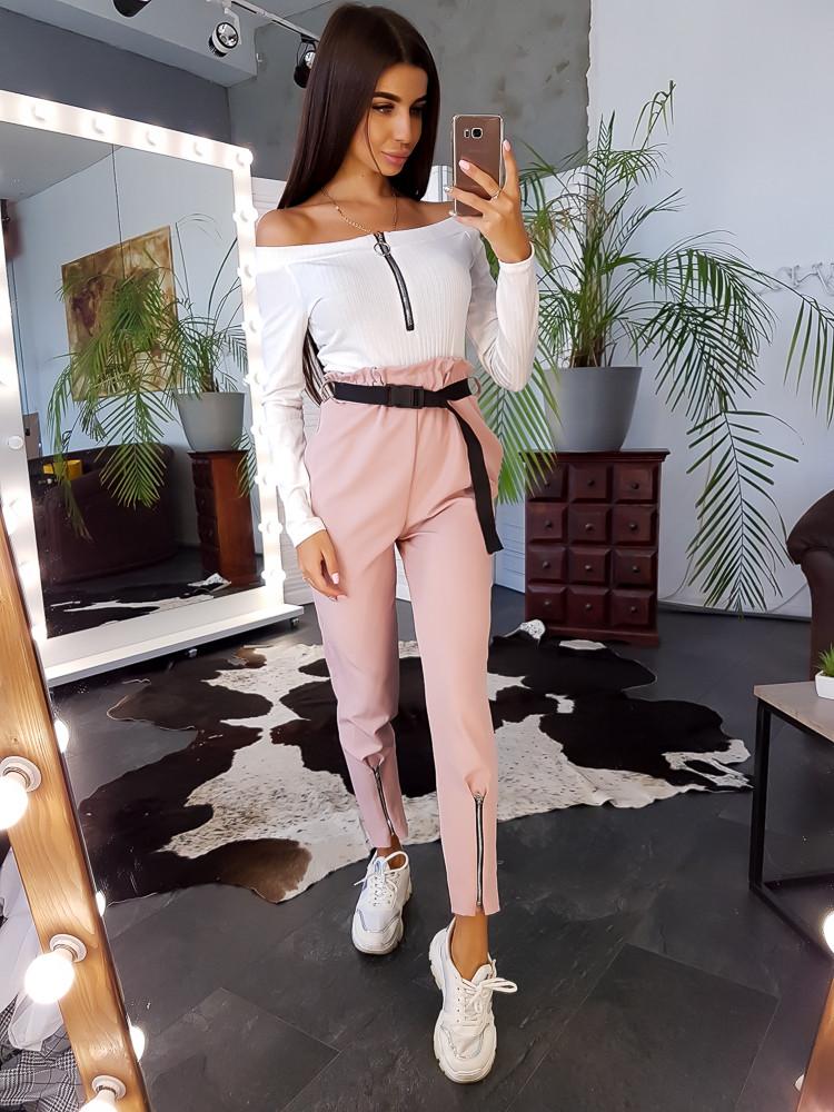 Комплект: Розовые брюки галифе с поясом фастекс и боди в рубчик