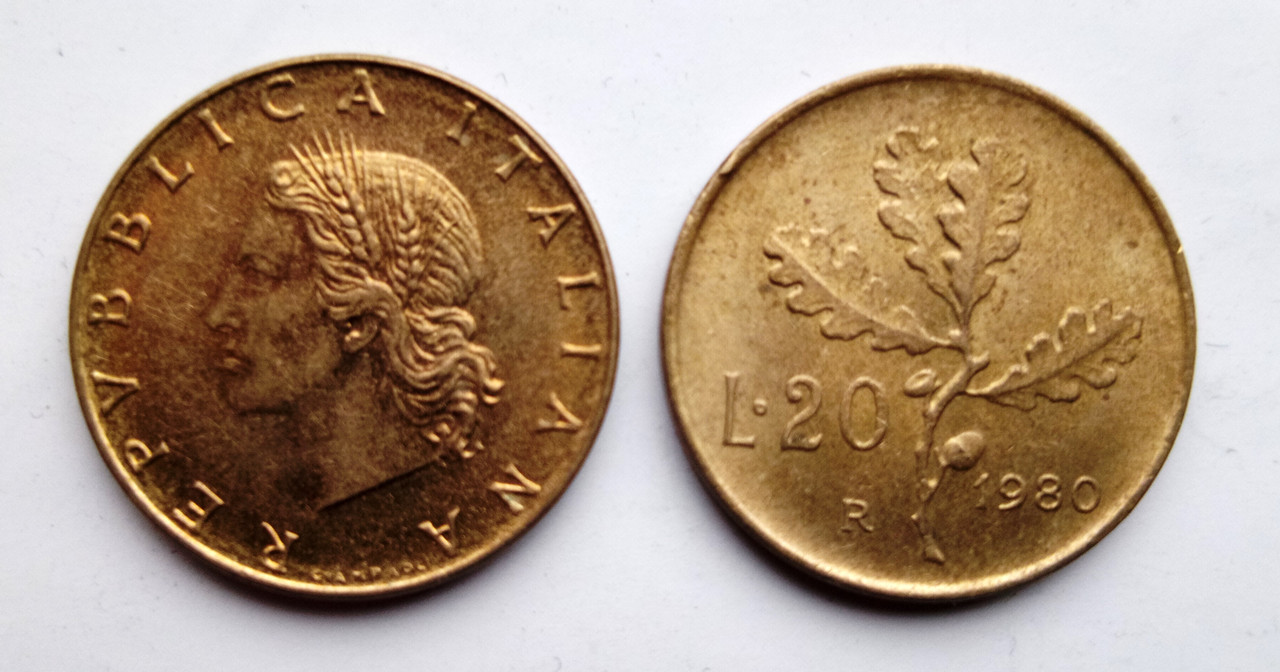 Монета Италия 20 лир 1977-80гг.