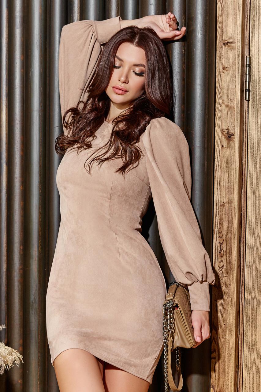 Короткое кофейное замшевое платье с объемными рукавами