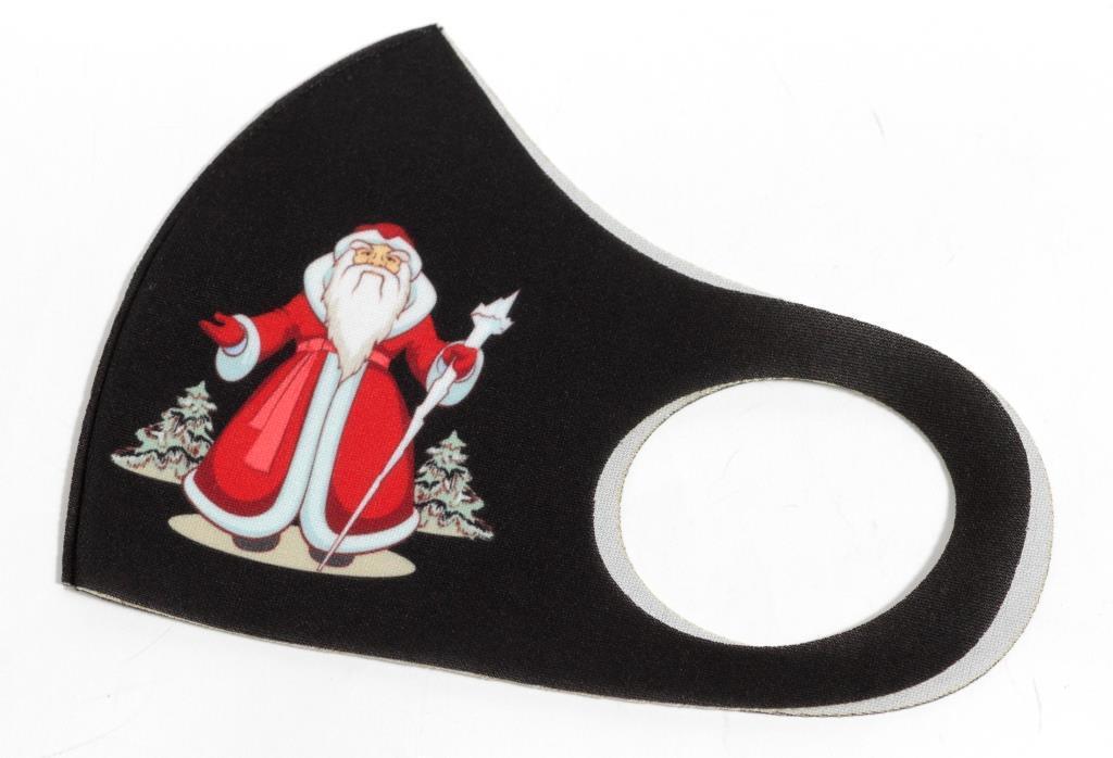 Многоразовая защитная маска для лица. Черного цвета с принтом Деда Мороза