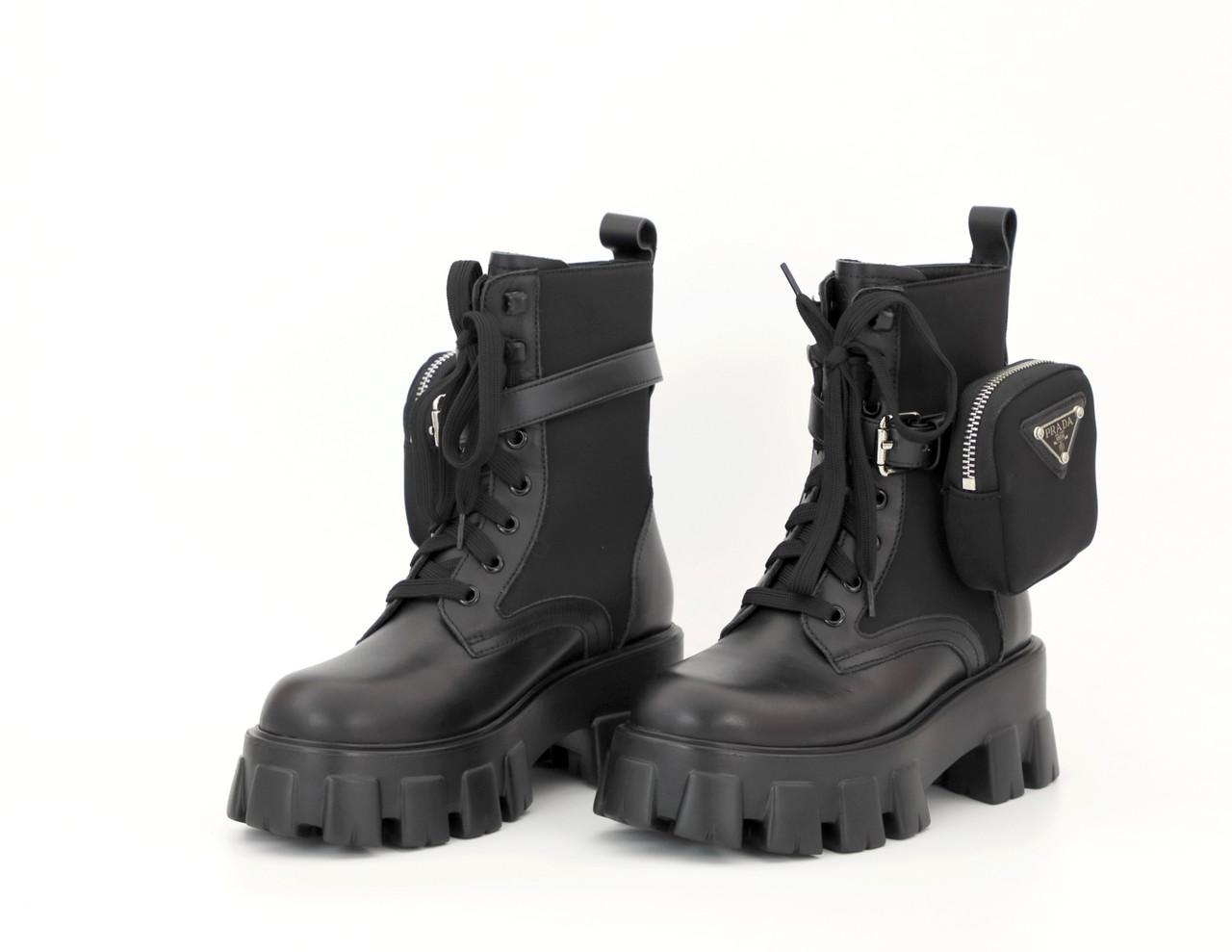 Женские черные Ботинки Prada Monolith