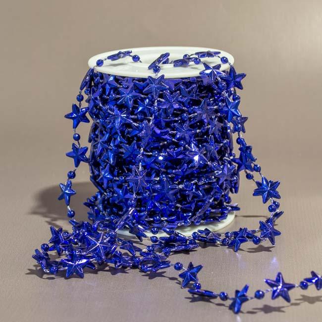 Бусы декоративные Звезды за 1 м.  синий