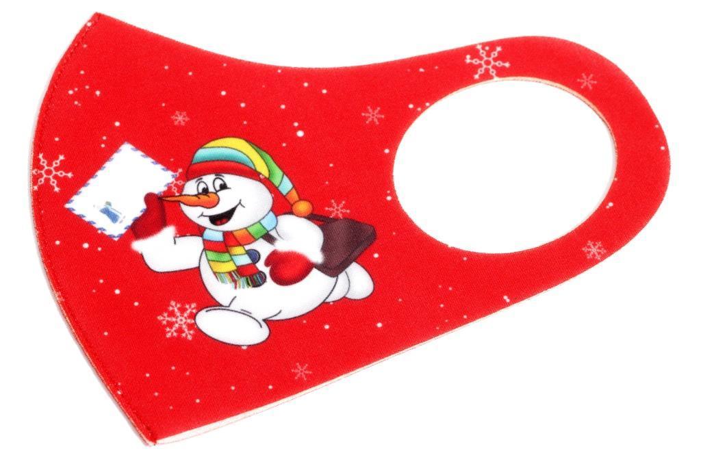 Многоразовая защитная маска для лица. Красного цвета с принтом Снеговика