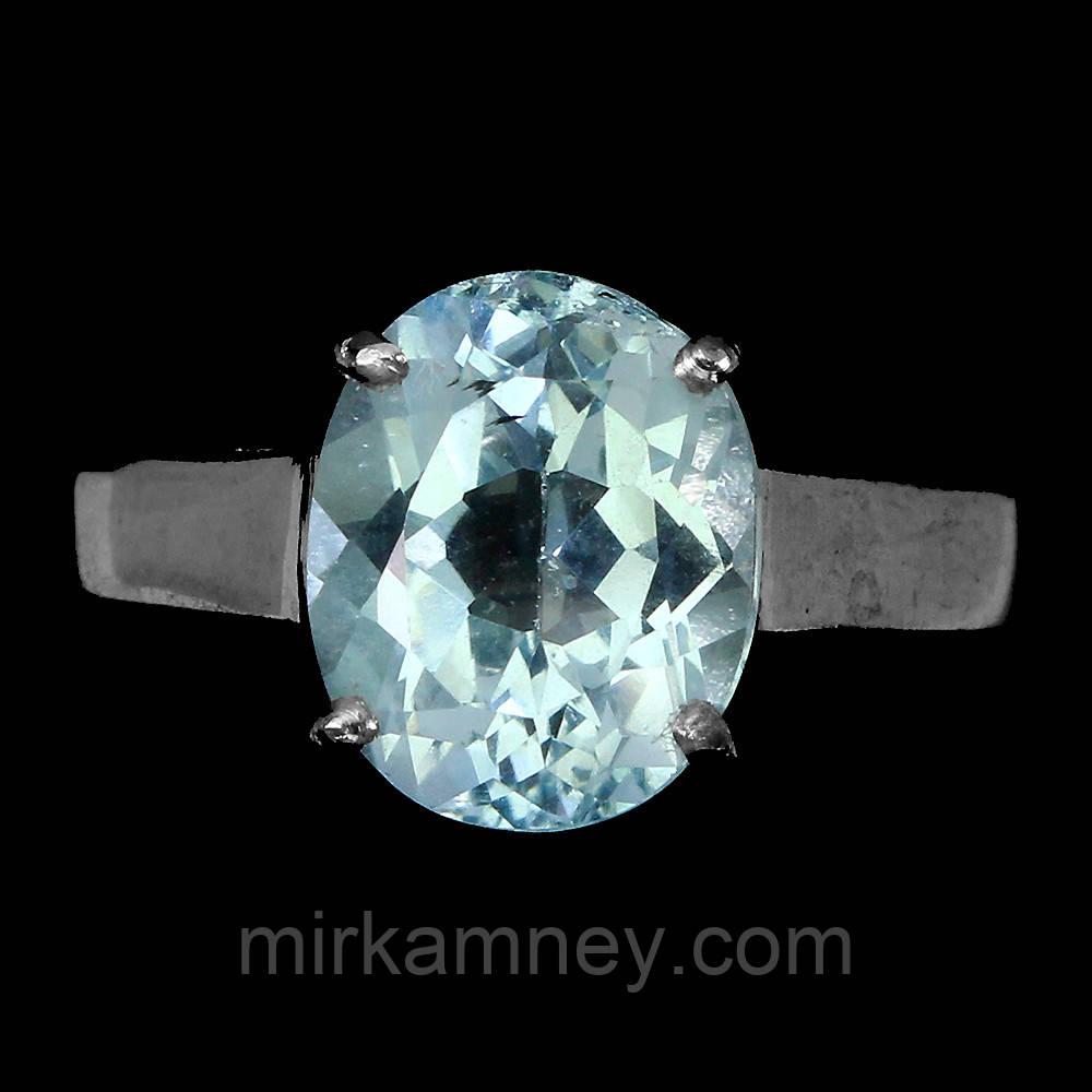 Кольцо Голубой (Скай Блу) Топаз (Африка). Размер кольца16.5. Серебро 925, покрытие белым золотом 14 карат.