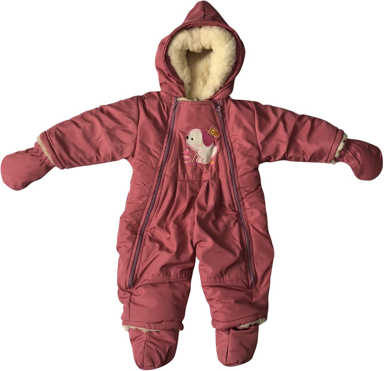 Зимовий комбінезон для новонароджених ріст 74 6-9 міс на дівчинку малюків дитячий суцільний овчина пудровий
