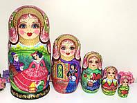 Подарок девочке крестнице Матрешка сказка 18 см, деревянные расписные, 5в1