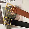 Женский ремень широкий массивный черный с золотой квадратной пряжкой эко-кожаный пояс, фото 8