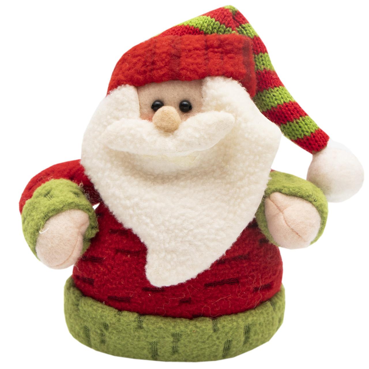 Мягкая новогодняя фигурка Дед Мороз красный с белой бородой, 16, 5см (000098)