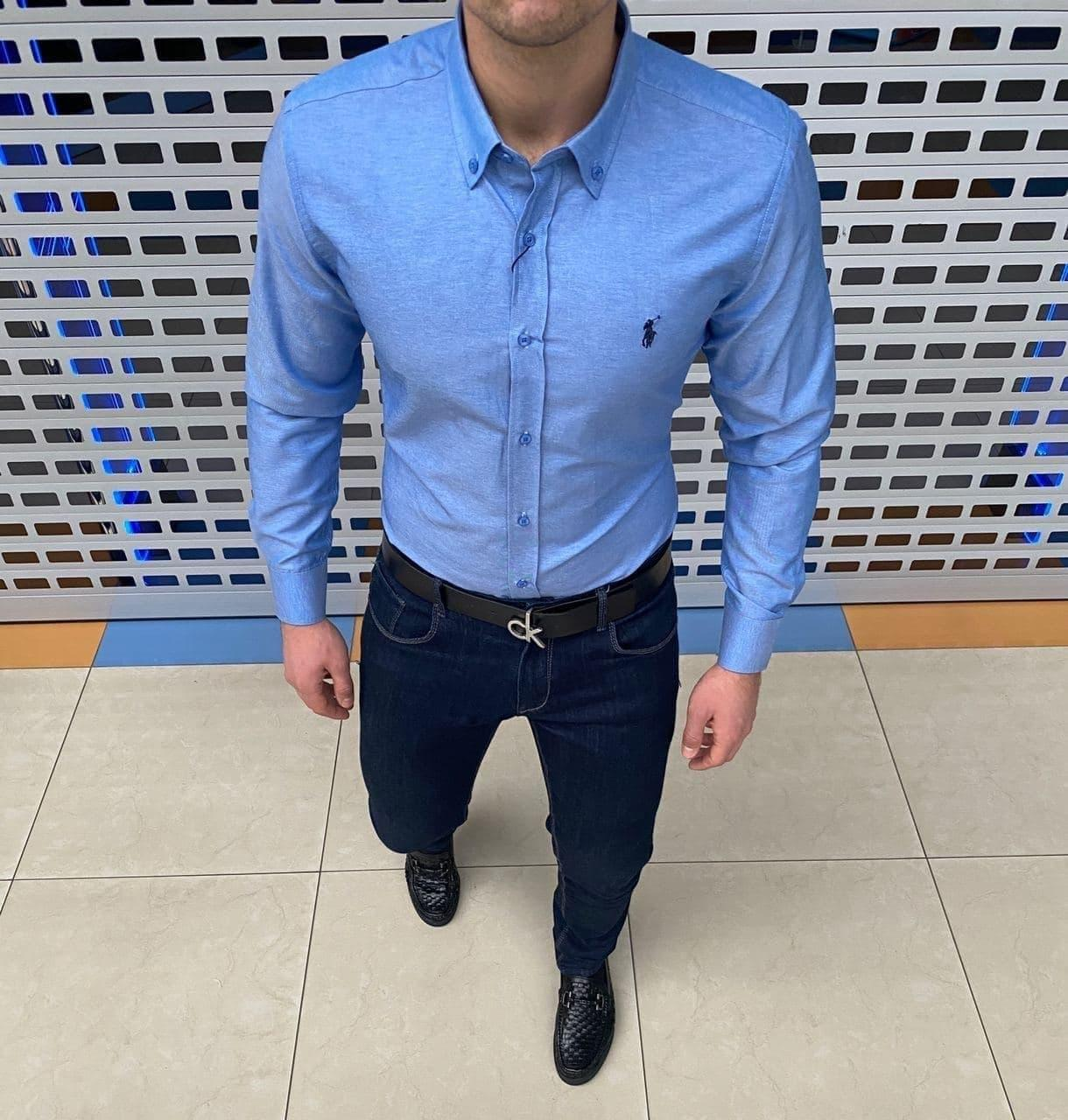 Мужская рубашка Polo Ralph Lauren H1101 голубая