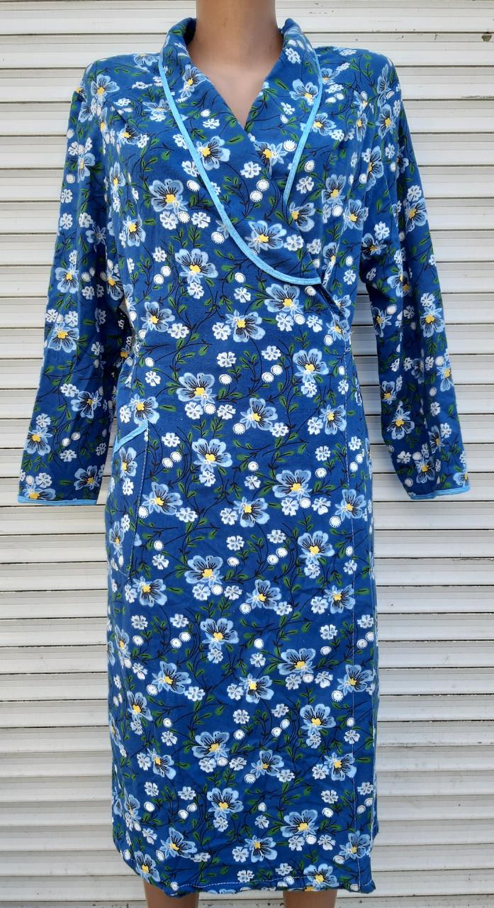 Теплый фланелевый халат на запах 50 размер Синие маки