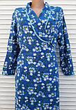 Теплый фланелевый халат на запах 50 размер Синие маки, фото 4
