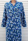 Теплый фланелевый халат на запах 50 размер Синие маки, фото 5