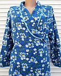 Теплый фланелевый халат на запах 50 размер Синие маки, фото 6