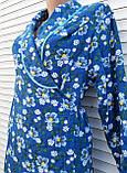 Теплый фланелевый халат на запах 50 размер Синие маки, фото 7