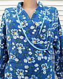 Теплый фланелевый халат на запах 50 размер Синие маки, фото 8