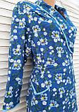 Теплый фланелевый халат на запах 50 размер Синие маки, фото 9