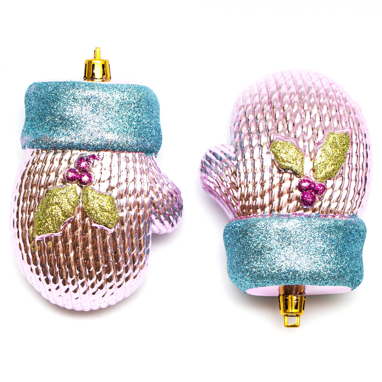 Набор елочных игрушек - рукавичка с декором, 11*7 см, розовый, пластик (031528)